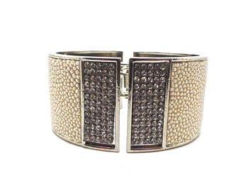 Bracelet cuir de Galuchat beige et strass argenté