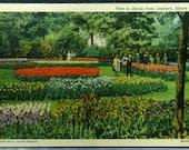 Vintage Lilacia Park Lombard Illinois Unused Linen Postcard 1943