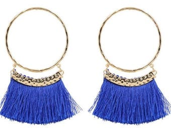 Large blue fringe earrings