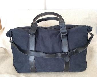 20% OFF SUMMER SALE Genuine vintage large denim navy blue and leather duffle travel bag