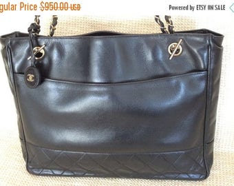15% SUMMER SALE Genuine CHANEL quilted black leather chain link tote bag with tag