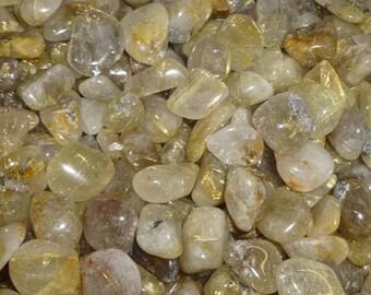 Bulk 1lb Tumbled Gold Rutilated Quartz Crystal Gemstones, Bulk Wholesale Tumbled Stones, Rutilated Quartz Gemstones, 1 Pound Lot Wholesale