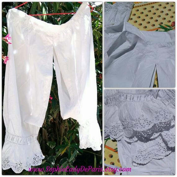 Victorian Long Open White Cotton Bloomer Monogram Handmade French Eyelet Lace Hand Embroidered Lingerie Large #sophieladydeparis