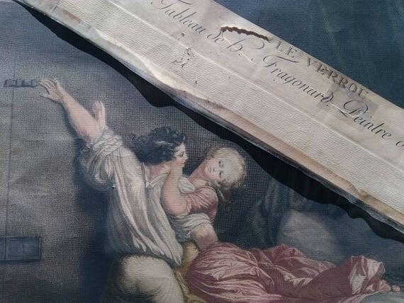 "19th C. Fragonard "" The BOLT ""  1784 Engraving By Blot Rococo Louis XVI #sophieladydeparis"