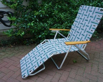 Lawn Chair, Green Blue White, Pool Deck Beach Chair, Folding Aluminum Frame, Wood Arms, Lounge Folding Chair, FREE Strapping RESERVED
