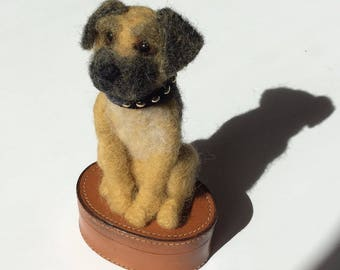 Needle Felted Terrier Dog Puppy on Vintage Real Leather Hide Case Keepsake Box