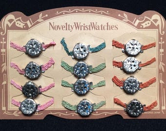 Toy Novelty Wrist Watches - WHISTLE WATCHES - Set of 12 on Original Store Display Card, Occupied Japan 1945-1952, Colorful Elastic Bands