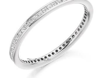 Platinum Princess Cut Diamond Wedding RingsDiamond BandMatching RingWomens