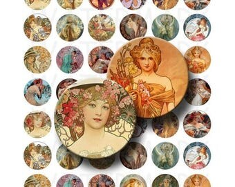 SALE- Alphonse Mucha Art - Digital Collage Sheet  - 1 inch Round Circles - INSTANT DOWNLOAD
