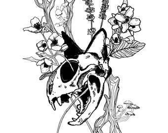 Skull Cat Print - Black & White