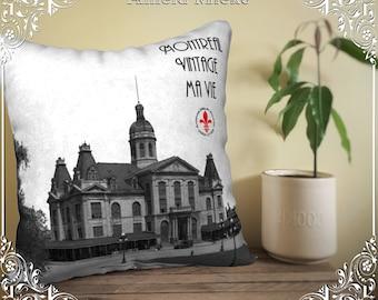 Pillow case cushion Maisonneuve market Montreal, Montreal vintage Cushion cover my life, photo pillow cover