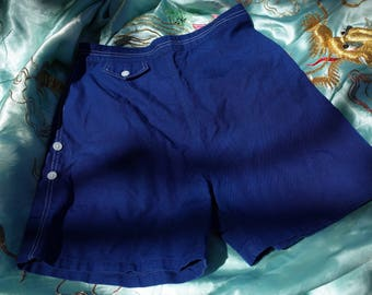 VINTAGE 1950s Blue Twill Sailor Shorts