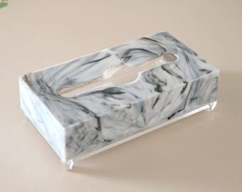 faux marble and lucite vintage tissue box dispenser