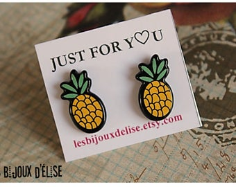 Pineapple Studs Comic Books Studs Yellow Pineapple Earrings (BO13)