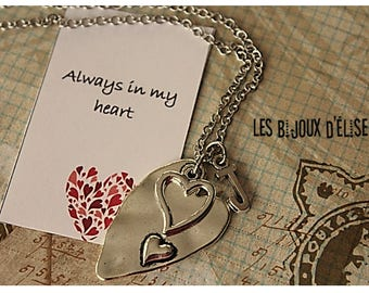 Heart Charms Necklace For Her Mom, Daughter, Sister, Grandma Antique Silver (CO78)