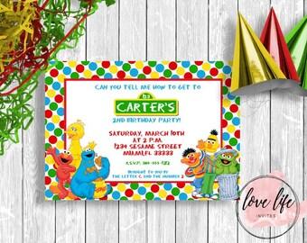 Sesame Street Birthday Invitation - Kids Party - Sleep Over - Back to School