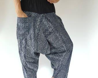 HL0082 Hmong indigo batik pants, Indigo Dye Low Crotch Pants, Harem Pants Unisex Low Crotch Yoga pants with elastic waist