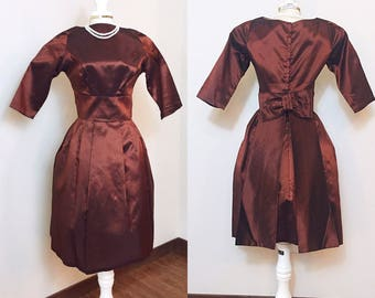 Vintage 1960s Dress / Copper / Back Bow / Party Dress