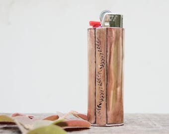 Rustic Copper Lighter Cover .Stamped Flowers . Classic Bic Cover . Handmade . Camping .