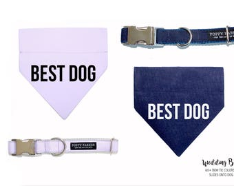 Best Dog Bandana With Matching Collar - Lavender Navy Shown - Choose Your Color - 60 Colors Available