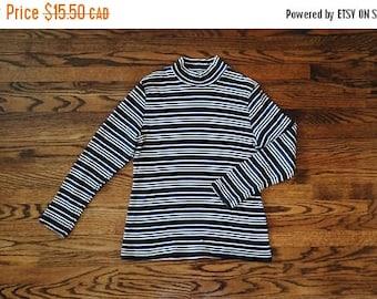 HELLO SUMMER SALE Vintage 90s Stripes Turtleneck Top
