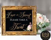 """Love is Sweet Take a Treat (4 STYLES in 8""""x10"""" & 11""""x14"""") DIGITAL PRINT • Wedding Favor Chalkboard Sign (no physical product)"""