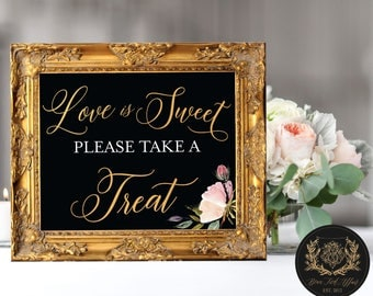 "Love is Sweet Take a Treat (4 STYLES in 8""x10"" & 11""x14"") DIGITAL PRINT • Wedding Favor Chalkboard Sign (no physical product)"