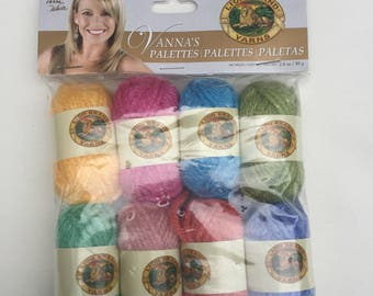 Vanna's Palette Yarn, Vanna's Choice Yarn, Lion Brand Yarn, Yellow, Pink, Blue, Green Acrylic Yarn