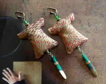 Earrings japonistantes - Japanese kimono - Asian jewelry - textile earrings - earrings Asian kimono