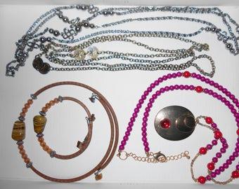 Jewelry lot vintage necklaces chains pendant bracelet stones metal glass 5 pcs