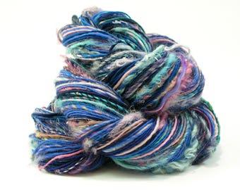 Handspun Yarn, Art Yarn, Textured Yarn, Knitting, Weaving, Crochet, Handspun Art Yarn, Blue, Pink, Rainbow, Worsted Weight Yarn  - DISCO