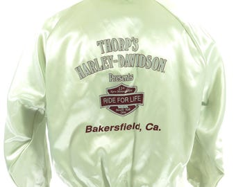 Vintage 90s Harley Davidson Jacket Mens XL Deadstock Shiny Satin Ride for Life [H62Y_1-1_Puffy]