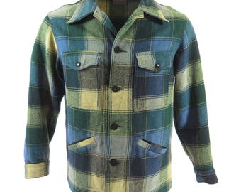 Vintage 60s Pendleton Jacket Mens M Wool Plaid Blue retro pockets [H70V_2-2]