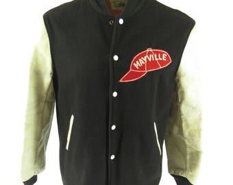 Vintage 60s Pacific Trail Varsity Jacket Mens 44 Letterman Leather Car Coat [H48F_3-1]