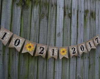 Sunflower wedding  Save the Date Burlap Banner Customize your name Burlap rustic style