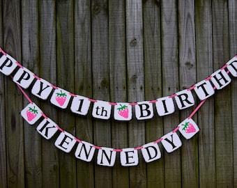 Custom Happy Birthday Banner , Happy 1st Birthday Banner , 1st Birthday Decor , Birthday Garland Birthday Decor
