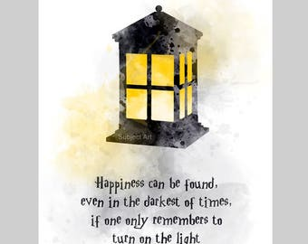 Happiness Can Be Found Even In The Darkest Of Times Quote ART PRINT illustration, Albus Dumbledore, Harry Potter, Wall Art, Home Decor, Gift
