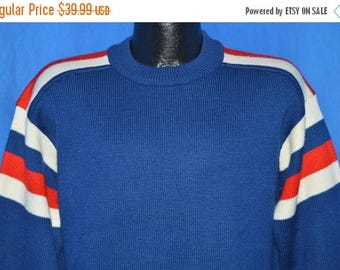 ON SALE 70s Meister Blue Striped Pullover Striped Acrylic Ski Sweater Large