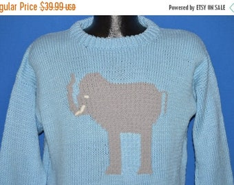 ON SALE 90s Elephant Hand Knit Pullover Sweater Medium