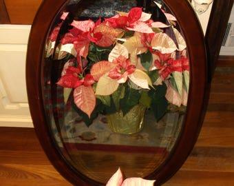 Vintage Oval Beveled Bombay Co Mirror Wood Framed Oval Mirror