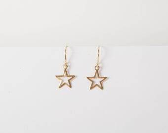 Earrings Star Sterling Silver Gold Plated Starlet Ear Rings  Dangly Earrings