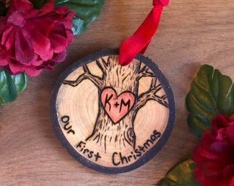Our 1st Christmas Ornament, Couples 1st Christmas Ornament, Heart and Initials Ornament, Wooden Christmas Ornament, Wood Slice Ornament