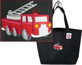 Fire Truck Day Tote Firefighter Fireman Bag + Free Name Monogram Custom Embroidered