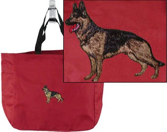 German Shepherd Puppy Dog Monogram Bag Red Essential Tote Custom Embroidered Show Breed