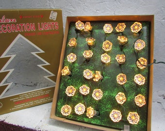 Vintage Box Of 30 Deluxe Decoration Lights. Christmas Lights. White  Christmas Tree Lights Flashing