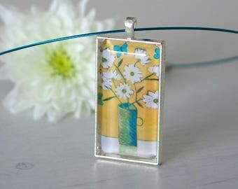 Daisy Pendant Necklace, Yellow Pendant, Butterfly Pendant, Floral Art Pendant, Art Jewellery, Quirky Jewellery, Turquoise Butterfly