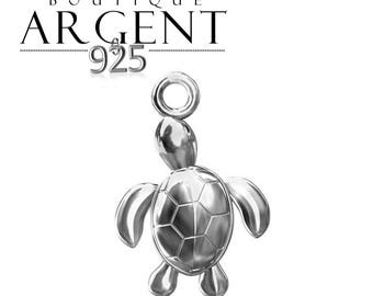 Turtle shaped 15.9 X 10.6 mm 925 sterling silver charm