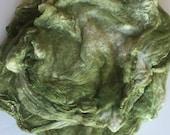 Hand dyed silk hankies (mawata) handpainted silk caps 1 oz.