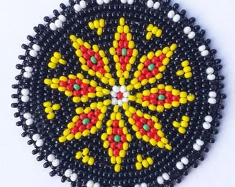 2 inch STAR BLACK Beaded Rosette
