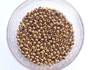 100 pcs 4mm Smooth Round Brass Metal Spacer Beads with a 1.5mm hole